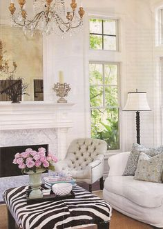 :: Havens South Designs :: loves zebra and antique mirror.