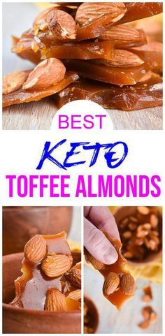 Do you want a new way to prepare almonds on a ketogenic diet? Try these keto toffee almonds! Super yummy candied keto almonds with this low carb recipe. Fudge Recipes, Almond Recipes, Dessert Recipes, Ketogenic Recipes, Keto Recipes, Ketogenic Diet, Keto Diet Breakfast, Keto Candy, High Fat Foods