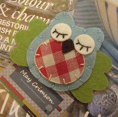 Owl wool felt mini hair clip aqua/sage green wings by MayCrimson