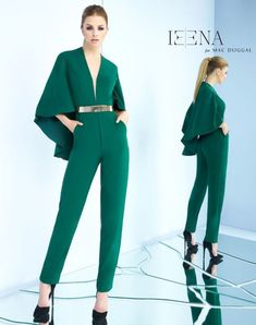 Ieena for Mac Duggal Jumpsuit with deep v-neck, cape, metal belt, and pockets. Queer Fashion, Fashion Mode, Hijab Fashion, Fashion Dresses, Classy Outfits, Chic Outfits, Vetement Fashion, Jumpsuit Outfit, Cape Jumpsuit