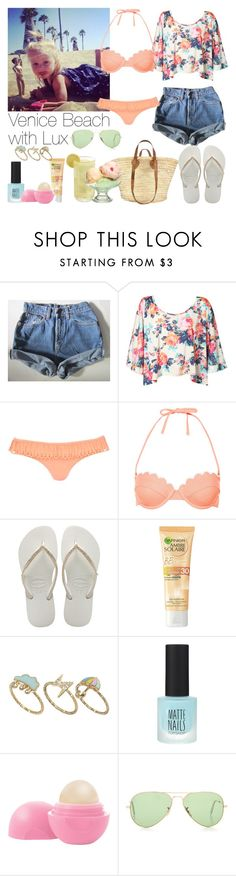 """""""Venice Beach with Lux"""" by beatrizpalma27 ❤ liked on Polyvore featuring Levi's, River Island, Topshop, Havaianas, ASOS, Eos, Ray-Ban, women's clothing, women's fashion and women"""