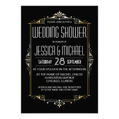 Roaring 20's Theme Wedding Shower | Art Deco Style Custom Announcements