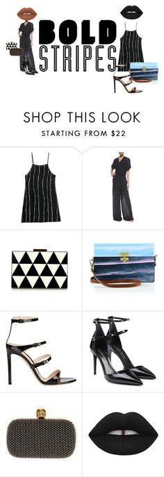 """""""Big Bold Stripes"""" by thispersonsays ❤ liked on Polyvore featuring Alexander Wang, Valentino, Edie Parker, Gianvito Rossi, Tamara Mellon, Alexander McQueen and Lime Crime"""
