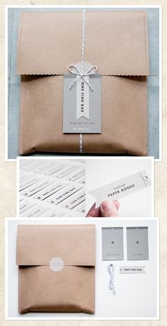 Love this stitched packet, sticker to close, tie & tag idea - very clean.