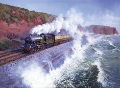 Fine Art Prints of Railway Scenes & Train Portraits - Langstone Rock - Dawlish by John Austin Train Posters, Railway Posters, Uk Rail, Train Drawing, Steam Art, Flying Scotsman, Nostalgic Art, Steam Railway, Railroad Photography