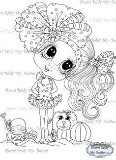INSTANT DOWNLOAD Digital Digi Stamps Big Eye Big Head Dolls