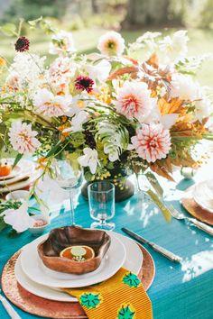 Lush table decor: http://www.stylemepretty.com/virginia-weddings/charlottesville/2015/02/20/rustic-chic-wedding-inspiration-at-verulam-farm/ | Photography: Katie Stoops - http://katiestoops.com/