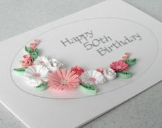 Quilled 70th birthday card paper quilling by PaperDaisyCards