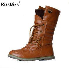 Rizabina size34-43女性ハーフ膝高ブーツヴィンテージ干潟かかとレースアップ暖かい冬の毛皮の靴ラウンドつま先プラットフォームの雪ブーツ