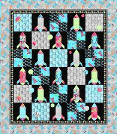 Free quilt pattern for nursery, don't like the fabric...but in orange, blue and green it could be cute.
