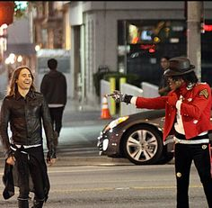 Jared Leto and a Michael Jackson impersonator on the streets of LA shoot the new film for City of Angels