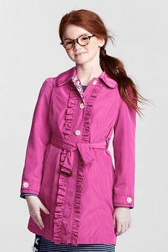 Girls' Ruffle Rain Trench Coat from Lands' End