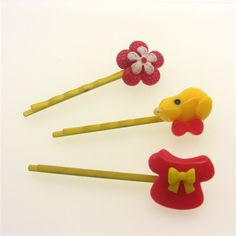 Yellow & Red Bobby Pin Trio Kitsch Kawaii Lolita by millypopsuk, $6.50