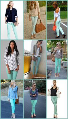 How do you wear mint jeans, you ask?? Tons of possibilities to be right on trend! Available at Hemingway