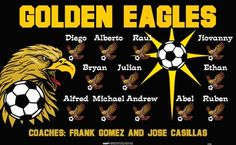 Eagles-Golden-42462 digitally printed vinyl soccer sports team banner. Made in the USA and shipped fast by BannersUSA. www.bannersusa.com