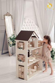 DIY Doll house for girls! Ikea Dollhouse, Dollhouse Bookcase, Girls Dollhouse, Wooden Dollhouse, Victorian Dollhouse, Dollhouse Dolls, Barbie Furniture, Kids Furniture, Modern Dollhouse Furniture