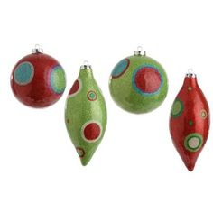 "RAZ Glittered Drop and Ball Ornament Set of 4  4 Asst Multicolored Made of Styrofoam Measures 7.5"" X 3"", 4""  Red and Lime Green ormnaments decorated with circles and dots. Small amount"