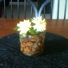 Grabbed a few rocks from the back yard, put in a (used to be candle from bath and body works) jar. Snipped two roses from the back yard, added some water and made me a centerpiece. Do you like?