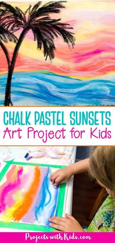 Create stunning chalk pastel sunsets with kids using simple techniques that are fun and easy to do. Kids will love learning and exploring with chalk pastels! Arts And Crafts For Kids Toddlers, Summer Activities For Kids, Art For Kids, Summer Kids, Pastel Sunset, Sunset Art, Chalk Pastel Art, Chalk Pastels, Clay Art Projects