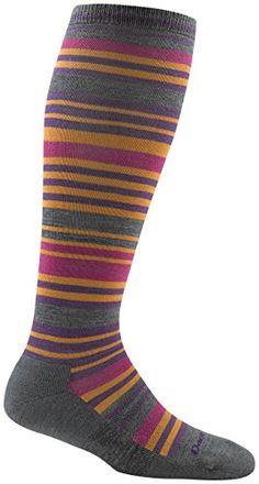 Darn Tough Striped Knee High Light Cushion Socks - Women's Mango Small