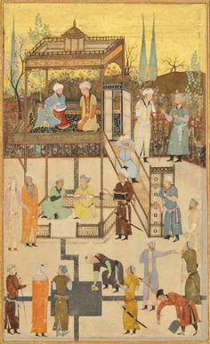 Princes At Leisure In The Style Of Bihzad, Iran, 19th Century