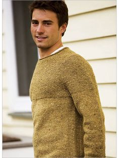 """""""I love the way a rustic, tweedy wool looks when worked in garter stitch,"""" says designer Jared Flood. Inspired by a recent trip to Dublin, he designed this pullover to be both intuitive to work and easy to wear. With a rounded garter yoke and garter pa Jumper Knitting Pattern, Jumper Patterns, Knitting Patterns, Mens Jumpers, Garter Stitch, Knitted Shawls, Mens Clothing Styles, Knitting Projects, Men Sweater"""