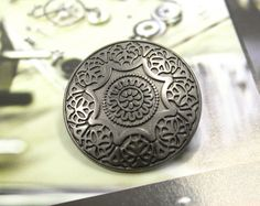 Medieval Mandala Flower Metal Buttons , Gunmetal Color , Shank , 1.10 inch , 6 pcs by Lyanwood, $5.00