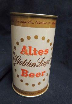 VTG Unopened Flat Top Beer Can Steel Altes Golden Lager Detroit Bar Craft Keg