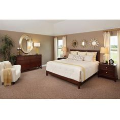 Model Home Decor--love the style and color scheme (master bedroom)