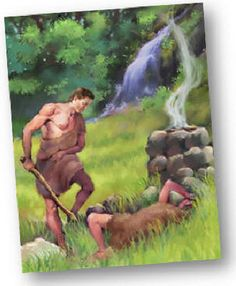 """""""Where is thy brother?"""" God said to Cain. """"I'm not his keeper!"""" he answered, """"I'm not to blame!"""" Now Abel's in heaven, all bright and grand; but God has sent Cain away from the land."""