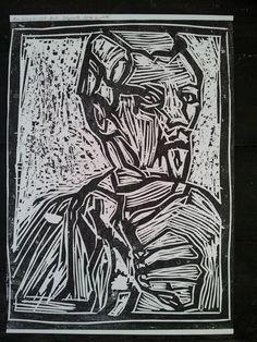 EDGEWORTH SIGNED LIMITED EDITION OF 25 LARGE WOOD BLOCK PRINT UK ARTIST FOLK ART #OutsiderArt