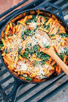 Combining red lentil pasta with garlicky sauteed kale, this super easy one pot camping meal delivers a ton of protein while still being completely vegetarian.  After thoroughly exploring St. George and Zion National Park, we drove east to the red rock arches of Moab, UT. Southern Utah is filled with some of the most spectacular rock formations in the world, and we were once again floored by how awesome the landscape was when we got there. As fate would have it, our paths once again crossed…