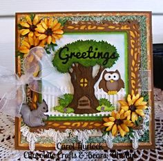 Carol Hurlock: Chocolate, Crafts and Bears, Oh MY! for CottageBLOG: CottageCut Critterville Tree House - 2/19/15.  (Dies:  Critterville Tree House; Squirrel; Little Owl; Victorian Fence; GREETINGS-word).  (Pin#1: Dies: Cottage Cutz.  Pin+: Animals...; Owls...).