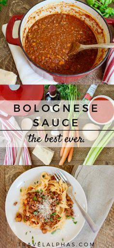 This slow-cook bolognese recipe allows for the rich flavors of beef and pork, San Marzano tomatoes, sweet carrots, Chianti Classico wine, and black truffles to marry and develop into the best bolognese sauce ever. You will not be disappointed. Sauce Recipes, Pasta Recipes, My Recipes, Beef Recipes, Cooking Recipes, Recipe Pasta, Pan Cooking, Cooking Corn, Cooking Games
