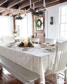 Table settings, table decorations, furniture, home decor, homemade home dec Decor, Country Farmhouse Decor, Decorating Your Home, Kitchen Paint Colors, Country Dining, Farmhouse Style, Farmhouse Dining, Farmhouse Style Christmas, Farmhouse Interior