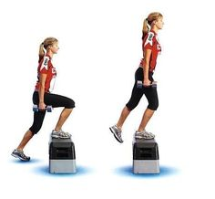 Dumbbell Step Up Photo Credit: cdn. Using dumbbells during this step up helps to tone your arms too, and the step up itself not only tones Boot Camp Workout, Butt Workout, Glute Exercises, Training Exercises, Body Workouts, Fitness Tips, Fitness Motivation, Health Fitness, Training Motivation