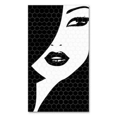 BLACK and WHITE PATTERNED GIRL Business Card. I love this design! It is available for customization or ready to buy as is. All you need is to add your business info to this template then place the order. It will ship within 24 hours. Just click the image to make your own!