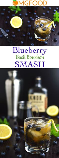 The combination of bourbon, blueberries, basil, maple syrup, and lemon makes this cocktail super smooth and delicious! | omgfood.com