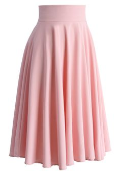 Creamy Pleated Midi Skirt in Pink - Skirt - Bottoms - Retro, Indie and Unique Fashion