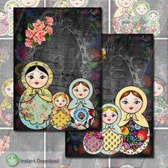 Matryoshka Doll Collage Sheet - Nesting Doll Collage Sheet - Babushka Image Sheet - Jewelry Cards - ATC 2.5x3.5 Size - Calico Collage by calicocollage on Etsy