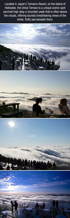 A sea of clouds floating below you - Unkai terrace in the Tomamu resort on Hokkaido island in Japan Oh The Places You'll Go, Places To Travel, Travel Destinations, Places To Visit, Dream Vacations, Vacation Spots, Adventure Awaits, Adventure Travel, Future Travel