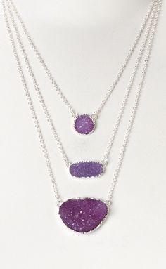 Purple druzy necklaces