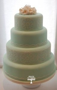Round mint cake with lace detail Beautiful Wedding Cakes, Beautiful Cakes, Dream Wedding, Lace Wedding, Pretty Cakes, Perfect Wedding, Summer Wedding, Mint Wedding Cake, Wedding Mint Green