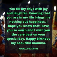 Do you want to say 'Happy Birthday Mom' in a cute and meaningful way? Check out these sweet 110 birthday wishes and messages for your mom. Happy Birthday Wishes Quotes, Happy Birthday Mom, Birthday Cards, I Hope You Know, Love You So Much, Special Day, Laughter, Motivational Quotes, Messages