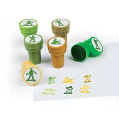 6 Army Themed Self Inking Stampers for Kids - Party Bag Fillers