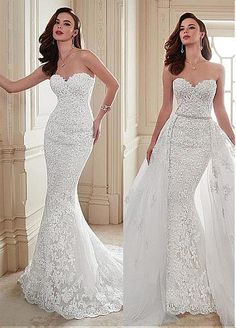 Marvelous Tulle Sweetheart Neckline 2 in 1 Wedding Dresses with Beaded Lace Appliques
