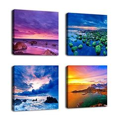 Canvas Wall Art Sunset Sea Beach Painting by 4 Pieces Canvs Art Nature Picture Framed and Ready to Hang Small Canvas Art, Mini Canvas Art, Canvas Artwork, Artwork Prints, Canvas Art Prints, Blue Canvas, Modern Artwork, Beach Wall Art, Beach Canvas