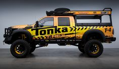 In American most kids have played with a tonka truck or two. Tim N. takes a mere mortal pickup and transforms it before your eyes into this grown up, full size big boy's toy! Check it out! 4x4 Trucks, Ford Trucks, Tonka Trucks, Cool Car Stickers, Truck Bed Storage, Montero Sport, Isuzu D Max, Ford Super Duty, Hot Rides
