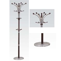 Nata Collection Modern Espresso Finish Coat Rack with Marble Base
