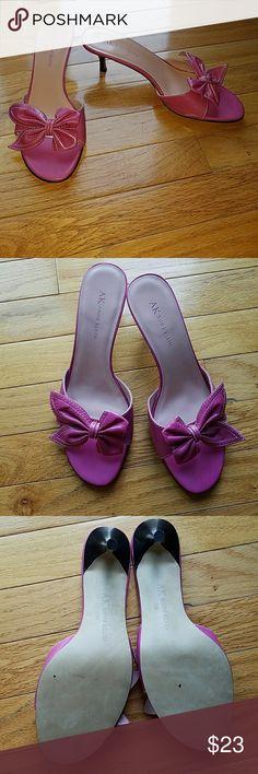 "Anne Klein kitten heel sandals. Magenta color. Leather upper. 2- 3/4"" in heel. Shoes Sandals"